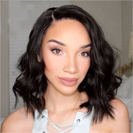 body wavy brazilian glueless lace wig Coupons - Short Bob Wigs Brazilian Virgin Human Hair Glueless Lace Front Wigs Virgin Hair Cuts Cheap Wavy Wig G-EASY