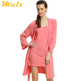 Wholesale Ladies Knit Suits Dresses - Wholesale- Gown dress women casual Sleep Lounge Modal Robe Set For women Knitted Modal Ladies Nightgown Suit Sexy Lace Bathrobe 1538