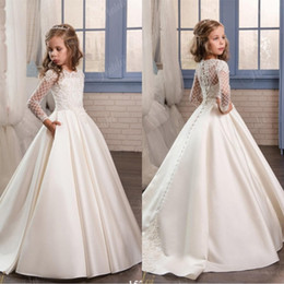 Wholesale Little Black Dresses For Cheap - Wedding Dresses for Little Girls 2018 Pentelei Cheap with Long Sleeves and Pockets Appliques Satin ivory flower girl pageant gowns
