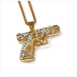 Wholesale 2pac Gun - New Arrival Gold Plated Sniper Rifle 2PAC gun Pendant Necklace Alloy Counter Strike Games Sniper Rifle Gun Model Pendants For Men