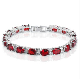 Wholesale Fancy Lobster - Fancy Birthday Gift Full Three Colour Cushion cut AAA CZ 14KT White Gold Filled Bracelet Women Decoration Jewelry for Party Wedding