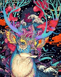 2019 incorniciato cervo pittura Natale cervi animali Fai da te Pittura By Numbers Kit Dipinto ad olio Dipinto a mano Disegno da colorare Immagine regalo No incorniciato sconti incorniciato cervo pittura