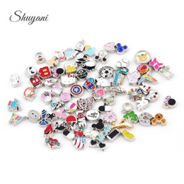 Wholesale Charm Lockets Design - 100pcs lot Mix Design Assorted Charms Mix DIY Alloy Floating Charms For Glass Living Memory Floating Locket