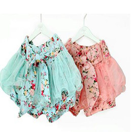Wholesale Mini Skirts For Baby Girl - baby girl short pant for summer baby girl flower shorts baby bloomer shorts Fluffy Pants Tutu Skirt big bow skirt girl children in stock