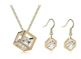 Wholesale Gold Filled Jewelry Prices - 18K Gold Plated Rehinestone Cubic Necklace Earrings Jewelry Sets for Women Swarovski Crystal Jewelry Sets Wholesale Price