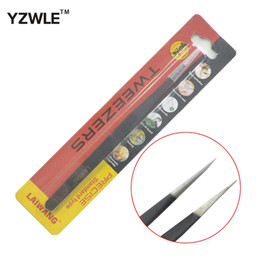 Wholesale Straight Eyebrow Tweezers - Wholesale-YZWLE 1Pc Antistatic Electroplating Nonmagnetic Stainless Steel Straight Eyebrow Tweezers Nail Art DIY Necessary Tools