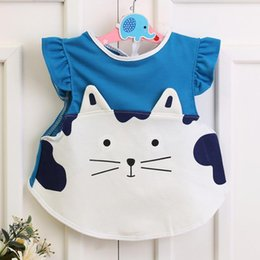 Wholesale Cute Fat Girls - 2017 Cute Baby Girl   Boy Tops Coat Cotton Bibs Dress Keep Clothes Cleaning Easy Wear Printed Fat Cat Dog 4 Colors Choose