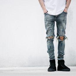 Wholesale Men S Blue Leather Pants - Wholesale-2016 New Arrive Men Brand Denim Jeans Blue Leather Card Pocket Paint Scratched Distrressed Patch Slim Pants Free Shipping