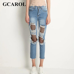 Wholesale Euro Style Pant Women - Wholesale- GCAORL Women 2017 Ripped Grid Denin Jeans High Quality Character Ankle-Length Pants Euro Style Early Spring Summer Jeans XL