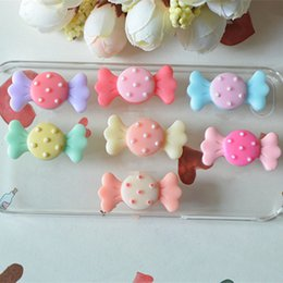 Wholesale Hair Bow Resin Flatback - 200pcs lot 3.2cm*1.5cm Resin Kawaii Candy Resin Flatback cabochon Crafts DIY for Kids Hair Bow Accessories jewelry phone decoration