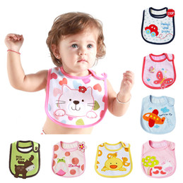 Wholesale Embroidered Burp Cloths - Wholesale- 2016 Hot Cotton Baby Infant Embroidered Saliva Towels Cartoon Burp Cloths Funny Baby Waterproof Bibs Wear 5pc lot 14-034 035
