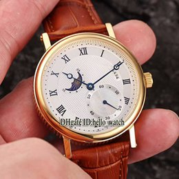 Wholesale Moon Cases - High Quality Luxury Brand Classic Classique 4434 White Dial Moon Phase Automatic Mens Watch Gold Case Leather Strap Gent Business Watches