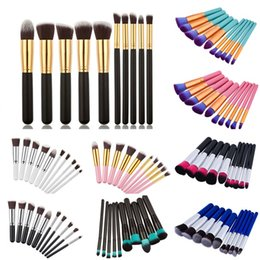 Wholesale Nylon Tools - 10pcs set Kabuki Makeup Brushes Professional Cosmetic Makeup Brush Kit Nylon Hair Wood Handle Eyeshadow Brush Foundation Makeup Brush Tools