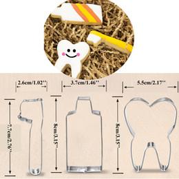 3 pz denti metallo biscotto premere dentifricio spazzolino biscotto maker fondente taglierina toppers cupcake bakeware da