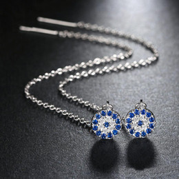 Wholesale Brilliant Diamond Earrings - Stylish Long Stud Earrings with Clear fix Blue Cubic Zirconia Pendant for Women Brilliant Simulated Diamond Jewelry