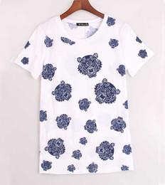 Wholesale Tiger Bells - Wholesale-women t shirt tiger head brand tee shirt femme fitness camisetas mujer blusa t-shirt white tops tshirt S M L K