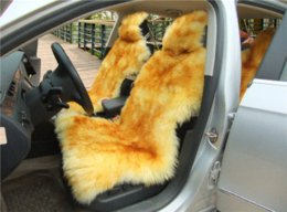 Wholesale Sheepskin Car Cushion - 1 piece Australia sheepskin car seat covers real fur car interior accessories cushion styling winter new plush car seat cover