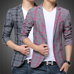 Wholesale Mens Casual Fashion Blazer - M-3XL 2017 Spring Autumn Plaid blazer Cotton unique mens blazers mens blazer jacket slim fit jaqueta Fashion suit men Coats Casual
