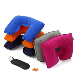 Wholesale Eyes Inflatables - New factory price 3in1 Travel Office Set Inflatable U Shaped Neck Pillow Air Cushion + Sleeping Eye Mask Eyeshade + Earplugs 1953