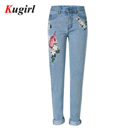 Wholesale Pants For Women Paint - Wholesale- New European Fashion Roses 3D Embroidery jeans for women Straight Loose jeans women Denim Pants Rural style jeans women