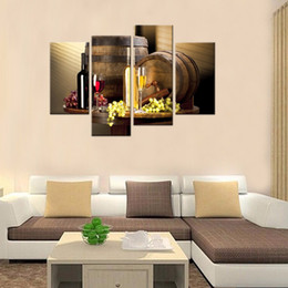 Wholesale Fruit Framed Art - 4 Pieces Wine And Fruit With Glass And Barrel Wall Art Painting Pictures Print On Canvas Food For Home Decor With Wooden Framed