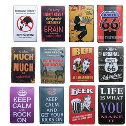 Wholesale Metal Pub - wholesale 20x30cm LIFE IS WHAT YOU MAKE IT Route 66 beer poster for bar pub wall decor vintage metal painting tin sign plaques