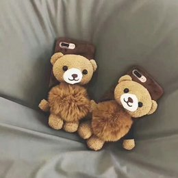 Wholesale Teddy Bear Cover For Iphone - New fashion teddy bear plush phone shell case for iphone 7 7 plus 8 8plus hard back cover for iphone 6 6S 6plus