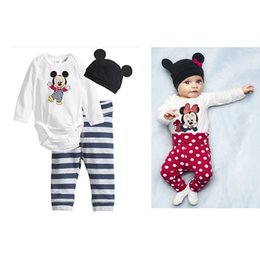 Wholesale Cute Casual Outfits For Girls - Kids Clothing Set Mickey Mouse Print Baby Clothes for Boys Girls Romper Pants Hat Boutique Children Fashion Spring Fall Toddler Outfits Cute
