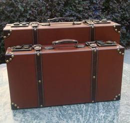 Wholesale Decoration Suitcase - Wholesale- Men Vintage Style Wooden Brief Case Magic Case Film Cosplay Accessories Leather Suitcase Trunk Home Decoration