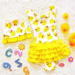 Wholesale Girls Ruffle Layer Skirt - 2017 Cute Baby bathing suits Petal skirt swimwear Duck one-piece Kids Swimsuits Children Layers ruffles Sweet Yellow pink DHL