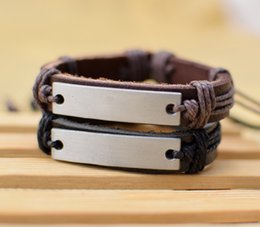 Wholesale Blank Cuff Bracelets - Supply Cool New Genuine Leather Bracelet Jewelry Bangle Cuff Pewter Metal Blank Plate Charm Bracelets free shipping