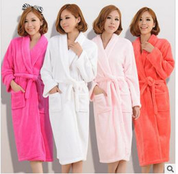 Wholesale Hot Men Bathrobes - Wholesale- Hot couple autumn and winter thick cashmere nightgown bathrobe men and womens long sleeve pajamas warm solid color Robes