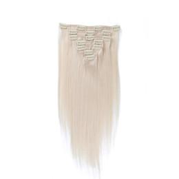 Clipe de cabelo platina on-line-Cor 60 # Grampo em Extensões Do Cabelo Humano Loira Clipe de Cabelo Humano Em Extensões 7 pcs 120g Platina Loira Remy Clipe de Cabelo Humano Em