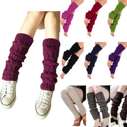 Wholesale Cheap White Knee Socks - Wholesale-Hot New 2016 Fashion Women Ladies Winter Knit Crochet Leg Warmers Knee High Trim Boot Legging Wamer High Quality Cheap Z1