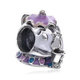 Wholesale Colorful Beads Fit Pandora - Mrs. Potts & Chip Sterling Silver Charm Elephant Shaped With Colorful Enamel Real S925 Silver Bead Fit Pandora Bracelet