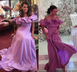 Wholesale Dress One Shoulders - 2017 Newest One Shoulder Light Purple Prom Dresses Satin Long Formal Prom Gowns Robe De Bal Party Evening Dresses for Party Celebrity Wear
