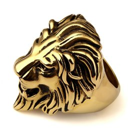 Wholesale Hip Rings - Gold Plated Unique Stainless Steel Exaggerated King Face RING Women Men Bling Gothic Lion Head Rings Hip Hop Jewelry Gifts