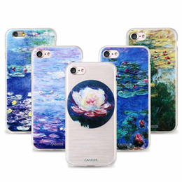 Wholesale Lily Paintings Art - CASEIER For iPhone Water lilies Oil Painting Case For iPhone 7 7 Plus 6 6s Plus Samsung S7 Art Printed Pattern Soft Clear Cover For iPhone