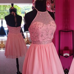 Wholesale Buy Short Gowns - Chic Beaded Halter Pink Chiffon Homecoming Dresses Short Prom Gowns 2017 custom made new arrive hot sale buy short