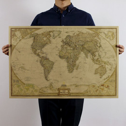 Wholesale World Map English Version National Geographic Atlantic International Kraft Paper Poster x47cm