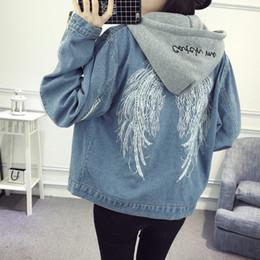 Wholesale jacket winged sleeves - Wholesale- Harajuku Wind Splicing Sweatshirt Hooded Denim Jacket Women 2017 New Wings Embroidery Loose Jeans Jacket Long Sleeve Coat Female
