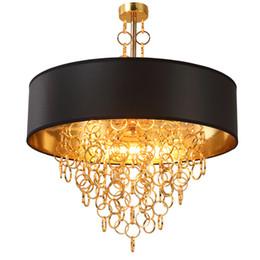 2019 деревянные лампы ручной работы Современные люстры с черным барабаном тени подвесной светильник золотые кольца падает в круглом потолочном светильнике