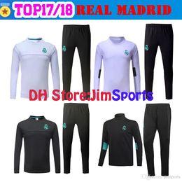 Wholesale Long Jacket Sweaters - 17 18 Real Madrid Tracksuit Training Sweater Suit Long Pants 2017 2018 Real Madrid Trainning Sweater Top Set Jacket RONALDO