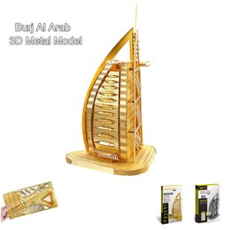 "Wholesale Burj Al Arab 3d Puzzle - Piececool ""Burj Al Arab"" 3d Metal Puzzle Creative World Famous Building Model DIY Funny Toys Home & Office Decoration Gifts"