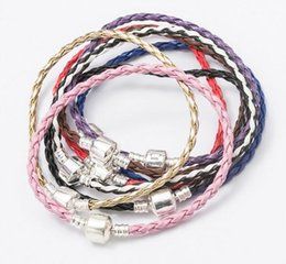 Wholesale Craft Charms For Bracelets - 10pcs lot Leather Bangle Bracelets For DIY Craft Fashion Jewelry Gfit Free shipping 7.6inch C01