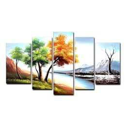 Wholesale Oil Paintings Woods - Landscape Oil Painting Season Tree Painting Wall Art Home Decor 5 Piece Canvas Art Wood Frame Inside Ready to Hang