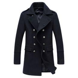 Wholesale Stylish Men Coat New Arrival - Wholesale- Autumn Winter New Arrival Men Wool Peacoat Jacket Men Thicker Warm Trench coat Overcoat England Stylish Solid Jaqueta Masculinas
