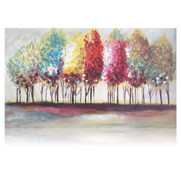 Wholesale Textured Oil Paintings - Multicolor Tree Artwork on Canvas Forest Landscape Painting 2 Sizes Acrylic Paintings Unframed Art Decoration Thick Textured