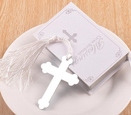 Wholesale Silver Bookmarks Wholesale - 20pcs Silver Stainless Steel White Tassel Cross Bookmark For Wedding Baby Shower Party Birthday Favor Gift Souvenirs