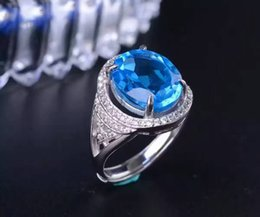 Wholesale Swiss Blue Topaz - Super Luxurious natural gemstone silver ring 10*12mm 5 ct natural swiss blue topaz ring solid 925 sterling silver topaz ring